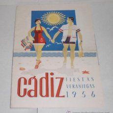 Folletos de turismo: CADIZ - FIESTAS VERANIEGAS - 1956 (PROGRAMA DE LAS FIESTAS VERANIEGAS). Lote 38225364