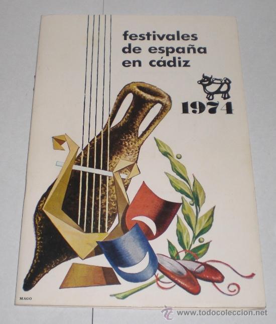FESTIVALES DE ESPAÑA EN CADIZ - 1974 (Coleccionismo - Folletos de Turismo)