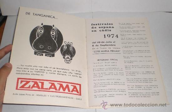 Folletos de turismo: Festivales de España en Cadiz - 1974 - Foto 2 - 38225613