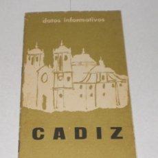 Folletos de turismo: FOLLETO TURÍSTICO DE CADIZ - 1966 (CON 2 MAPAS). Lote 38231109