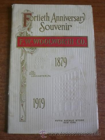 PROGRAMA 40 ANIVERSARIO EMPRESA AMERICANA F. W. WOOLWORTH CO. 1879-1919. (ACTUAL FOOT LOCKER) (Coleccionismo - Folletos de Turismo)