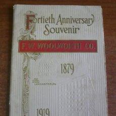 Folletos de turismo: PROGRAMA 40 ANIVERSARIO EMPRESA AMERICANA F. W. WOOLWORTH CO. 1879-1919. (ACTUAL FOOT LOCKER). Lote 38457678