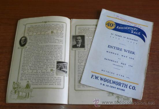 Folletos de turismo: PROGRAMA 40 ANIVERSARIO EMPRESA AMERICANA F. W. WOOLWORTH CO. 1879-1919. (ACTUAL FOOT LOCKER) - Foto 3 - 38457678