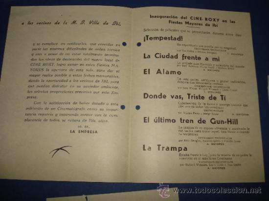 Folletos de turismo: Folleto , Saluda y Programa de Inauguración del Cine ROXY de IBI Septiembre 1961 - Foto 2 - 38655582