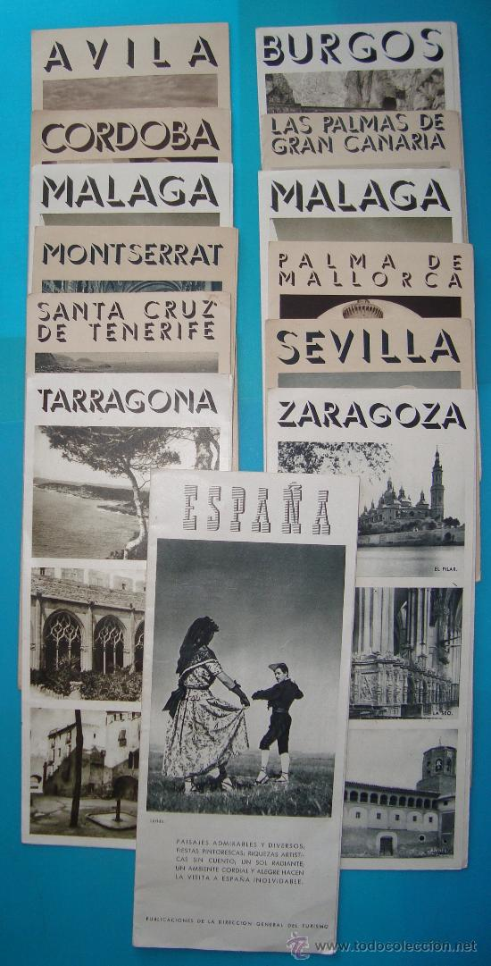 LOTE DE 13 PUBLICACIONES LUGARES DE ESPAÑA AÑOS 50, DIRECCION GENERAL DE TURISMO (Coleccionismo - Folletos de Turismo)