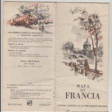 Folletos de turismo: FOLLETO DE TURISMO TURISTICO VIAJE MAPA DE FRANCIA AÑO 1953. Lote 39064990