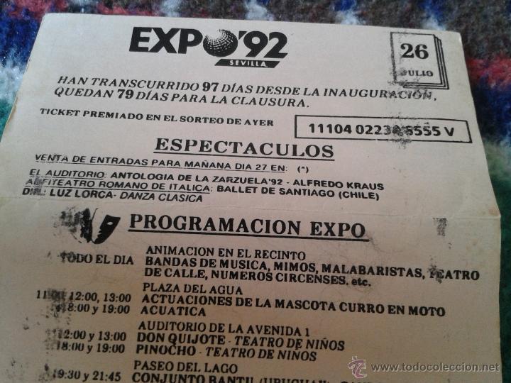 Folletos de turismo: HOJA FOLLETO PROGRAMA DIARIO EXPO 1992 92 SEVILLA DIA 26 JULIO VISITA JEFES ESTADO DIFICIL RARO - Foto 4 - 40002771