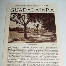 Folletos de turismo: ANTIGUO FOLLETO DE TURISMO DE GUADALAJARA - CON MUCHAS FOTOGRAFIAS - PATRONATO NACIONAL DEL TURISMO . Lote 38249598