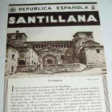 Folletos de turismo: ANTIGUO FOLLETO-GUIA DE LA REPUBLICA ESPAÑOLA - SANTILLANA - 8 PAGINAS - MIDE 12X17 APROX. DEL PATRO. Lote 38251429