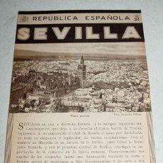 Folhetos de turismo: ANTIGUO FOLLETO-GUIA DE LA REPUBLICA ESPAÑOLA - SEVILLA - 8 PAGINAS - MIDE 12X17 APROX. DEL PATRONAT. Lote 38251431