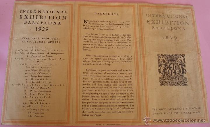 Folletos de turismo: FOLLETO DESPLEGABLE DE INTERNATIONAL EXHIBITION BARCELONA 1929 - Foto 3 - 40262819
