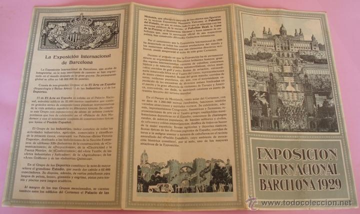 Folletos de turismo: FOLLETO DESPLEGABLE DE LA EXPOSICIÓN INTERNACIONAL BARCELONA 1929 - Foto 2 - 40262937