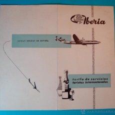 Folletos de turismo: IBERIA AÑO 1958 FOLLETO DE TARIFA DE SERVICIOS TURISTAS INTERNACIONALES. Lote 40573697