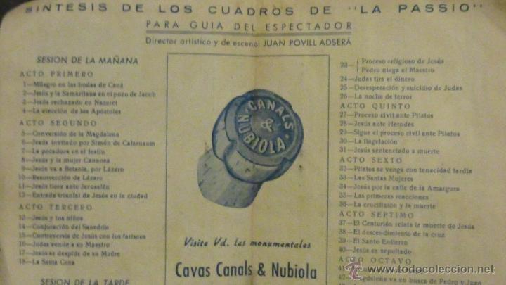 Folletos de turismo: Programa .Olesa de Montserrat LA PASSIO. .1952 guia del visitante . drama sacro. publicidad la Puda - Foto 2 - 40734093