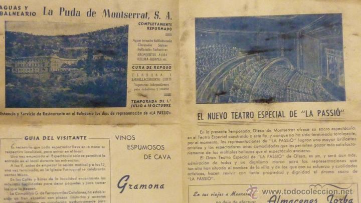 Folletos de turismo: Programa .Olesa de Montserrat LA PASSIO. .1952 guia del visitante . drama sacro. publicidad la Puda - Foto 3 - 40734093