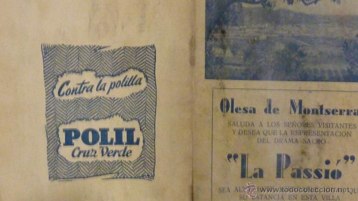 Folletos de turismo: Programa .Olesa de Montserrat LA PASSIO. .1952 guia del visitante . drama sacro. publicidad la Puda - Foto 4 - 40734093