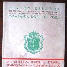 Foglietti di turismo: FOLLETO TEATRO ESPAÑOL MADRID. 1954. COMPAÑIA LOPE DE VEGA. ENVIO GRATIS¡¡¡. Lote 40908531