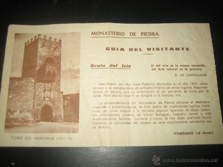 MONASTERIO DE PIEDRA.. GUIA DEL VISITANTE (Coleccionismo - Folletos de Turismo)