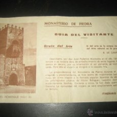 Folletos de turismo: MONASTERIO DE PIEDRA.. GUIA DEL VISITANTE. Lote 41085183
