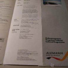 Folletos de turismo: EXPO 92.-FOLLETO DESPLEGABLE: PROGRAMA CULTURAL, ALEMANIA EXPO 92 SEVILLA.. Lote 42361350