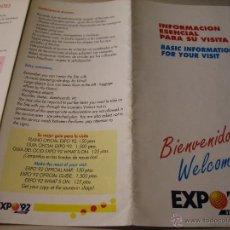 Folletos de turismo: EXPO 92.-FOLLETO DESPLEGABLE: INFORMACION ESENCIAL PARA SU VISITA EXPO 92. Lote 42361734
