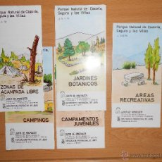 Folletos de turismo: LOTE 5 FOLLETOS PARQUE DE CAZORLA, SEGURA Y LAS VILLAS. JAÉN. AÑO 1987. Lote 43112082