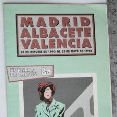 Folletos de turismo: FOLLETO HORARIO DE TRENES RENFE 1992 MADRID ALBACETE VALENCIA. Lote 43550881