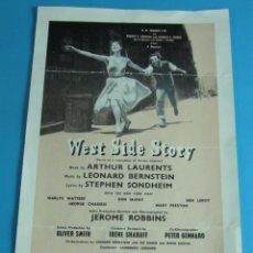 Folletos de turismo: FOLLETO MANO WEST SIDE STORY. MUSICAL ESTRENADO EN 1958 EN EL HER MAJESTY'S THEATRE DE LONDRES. Lote 44117269