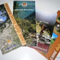 Folletos de turismo: 4 FOLLETOS DE RUTAS Y MAPAS DE CAMI DELS BONS HOMES, EN CATALAN. . Lote 44688443