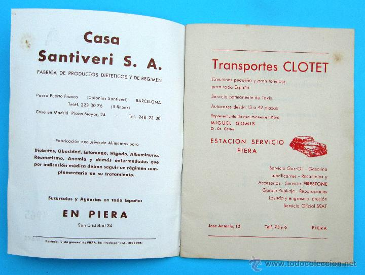 Folletos de turismo: PROGRAMA DE LA FIESTA MAYOR DE PIERA. 8, 9 Y 10 DE SEPTIEMBRE DE 1965. - Foto 2 - 44854452