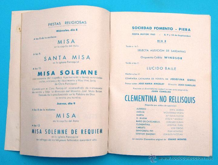 Folletos de turismo: PROGRAMA DE LA FIESTA MAYOR DE PIERA. 8, 9 Y 10 DE SEPTIEMBRE DE 1965. - Foto 3 - 44854452