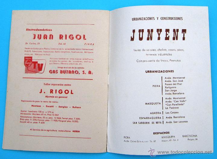 Folletos de turismo: PROGRAMA DE LA FIESTA MAYOR DE PIERA. 8, 9 Y 10 DE SEPTIEMBRE DE 1965. - Foto 4 - 44854452