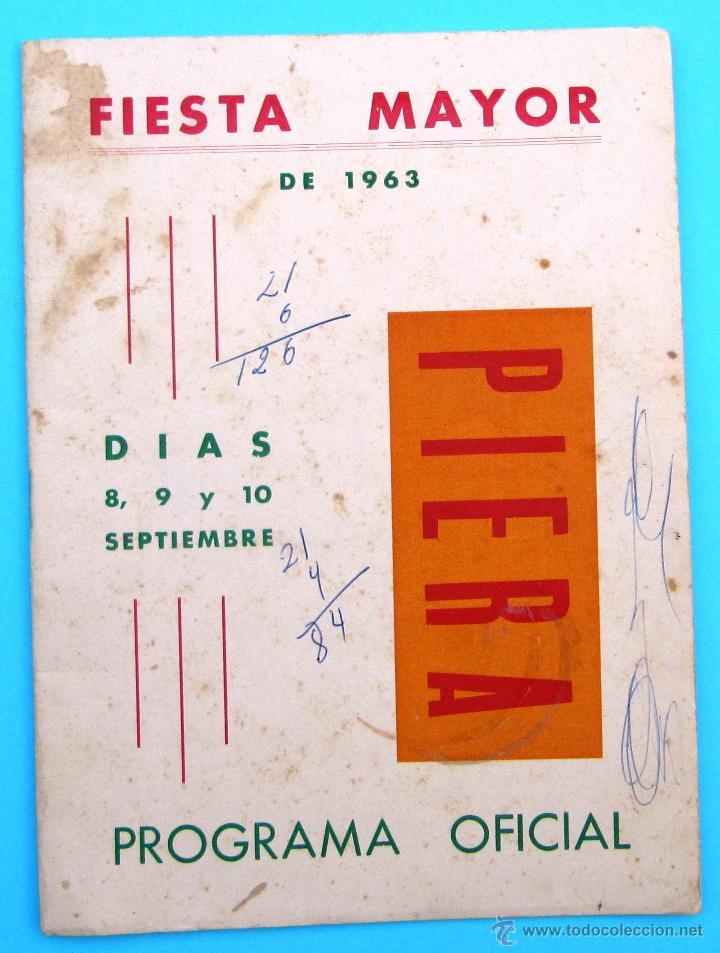 PROGRAMA DE LA FIESTA MAYOR DE PIERA. 8, 9 Y 10 DE SEPTIEMBRE DE 1963. (Coleccionismo - Folletos de Turismo)