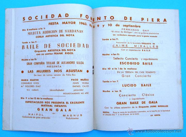 Folletos de turismo: PROGRAMA DE LA FIESTA MAYOR DE PIERA. 8, 9 Y 10 DE SEPTIEMBRE DE 1963. - Foto 3 - 44854481