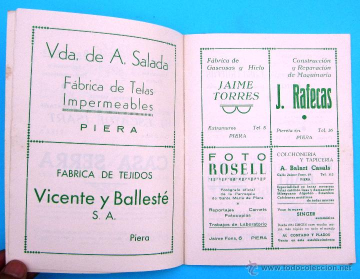 Folletos de turismo: PROGRAMA DE LA FIESTA MAYOR DE PIERA. 8, 9 Y 10 DE SEPTIEMBRE DE 1962. - Foto 2 - 44854497