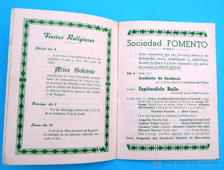 Folletos de turismo: PROGRAMA DE LA FIESTA MAYOR DE PIERA. 8, 9 Y 10 DE SEPTIEMBRE DE 1962. - Foto 3 - 44854497