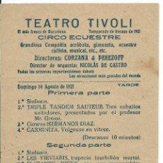 Folletos de turismo: FOLLETO TEATRO TIVOLI, CIRCO ECUESTRE, BARCELONA 1921.. Lote 45275728