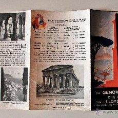 Folletos de turismo: ANTIGUO TRÍPTICO DE GENOVA A NAPOLI E IN SICILIA CON IL LLOYD TRIESTINO, 1932. Lote 45366040