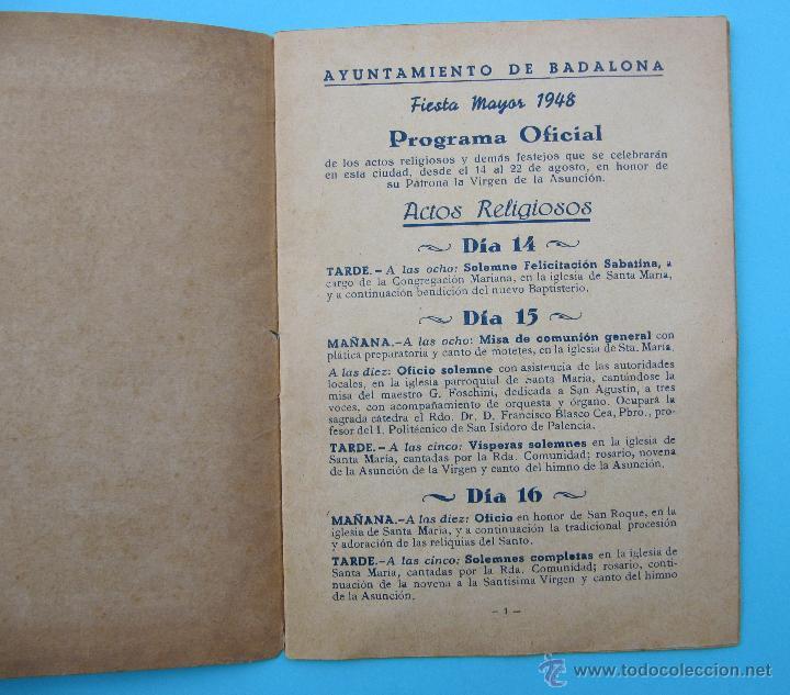 Folletos de turismo: BADALONA. FIESTA MAYOR 1948. - Foto 2 - 45723635