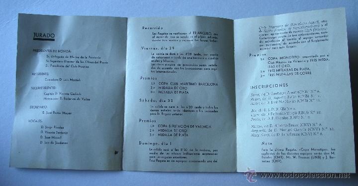 Folletos de turismo: folleto regatas de monotipos organizadas por el club nautico de valencia, junio 1934 - Foto 2 - 47185048