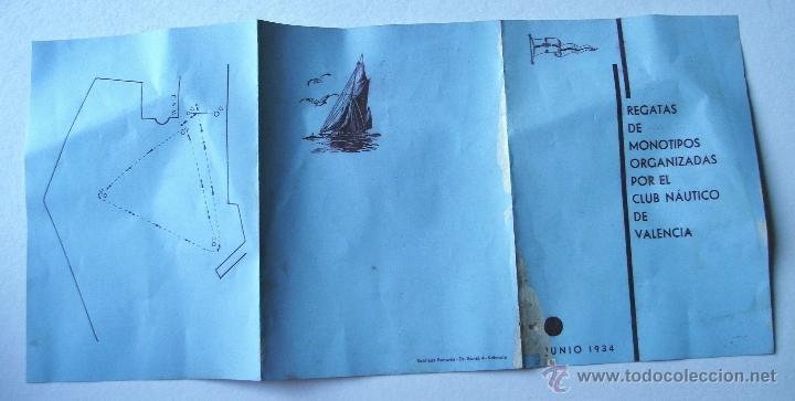 Folletos de turismo: folleto regatas de monotipos organizadas por el club nautico de valencia, junio 1934 - Foto 4 - 47185048