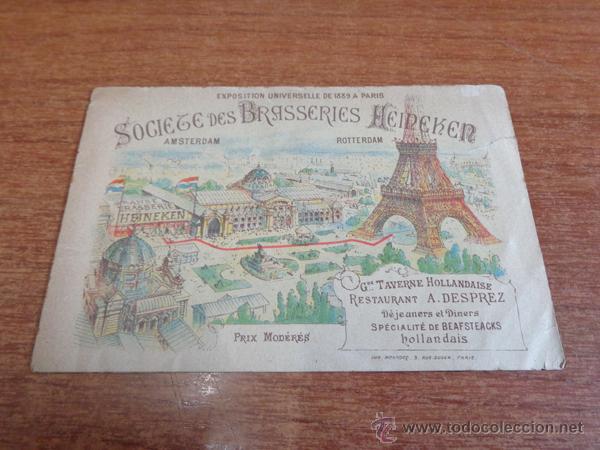 ANTIGUO DÍPTICO PUBLICITARIO DE LA CERVECERA HEINEKEN PARA LA EXPOSICION UNIVERSAL DE PARIS DE 1889. (Coleccionismo - Folletos de Turismo)