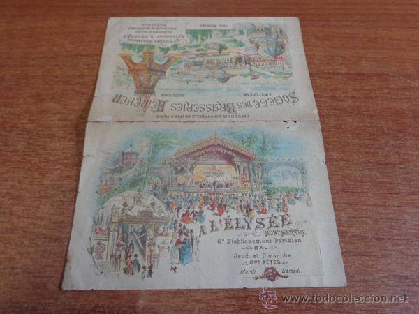 Folletos de turismo: ANTIGUO DÍPTICO PUBLICITARIO DE LA CERVECERA HEINEKEN PARA LA EXPOSICION UNIVERSAL DE PARIS DE 1889. - Foto 2 - 47317382