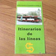 Folletos de turismo: FOLLETO DE MADRID CON LAS LINEAS DE AUTOBUSES DE LA EMT - MARZO DE 1992 - ITINERARIOS DE LAS LINEAS. Lote 48600153