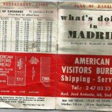 Folletos de turismo: LIBRITO GUÍA Y PLANO DE MADRID PARA TURISTAS AMERICANOS. ¡HISTÓRICO 1968!.. Lote 48864221