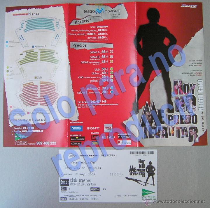 HOY NO ME PUEDO LEVANTAR-MUSICAL DE NACHO CANO CANCIONES DE MECANO, TEATRO MOVISTAR DE MADRID 2006 (Coleccionismo - Folletos de Turismo)