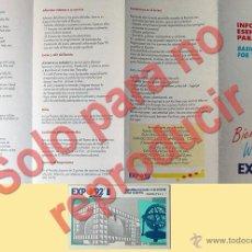 Folletos de turismo: EXPO-SEVILLA LOTE FOLLETO PLANO Y ENTRADA A LA EXPOSICION UNIVERSAL DE SEVILLA AÑO 1992. Lote 28234475