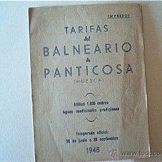 Folletos de turismo: BALNEARIO DE PANTICOSA (HUESCA). TARIFAS Y RUTAS TURÍSTICAS. 1948. Lote 49993648