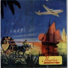 Folletos de turismo: DOCUMENTO AVIACION RUTAS AEROLINEA IBERIA MUNDO 1953 AIRLINE. Lote 238449565