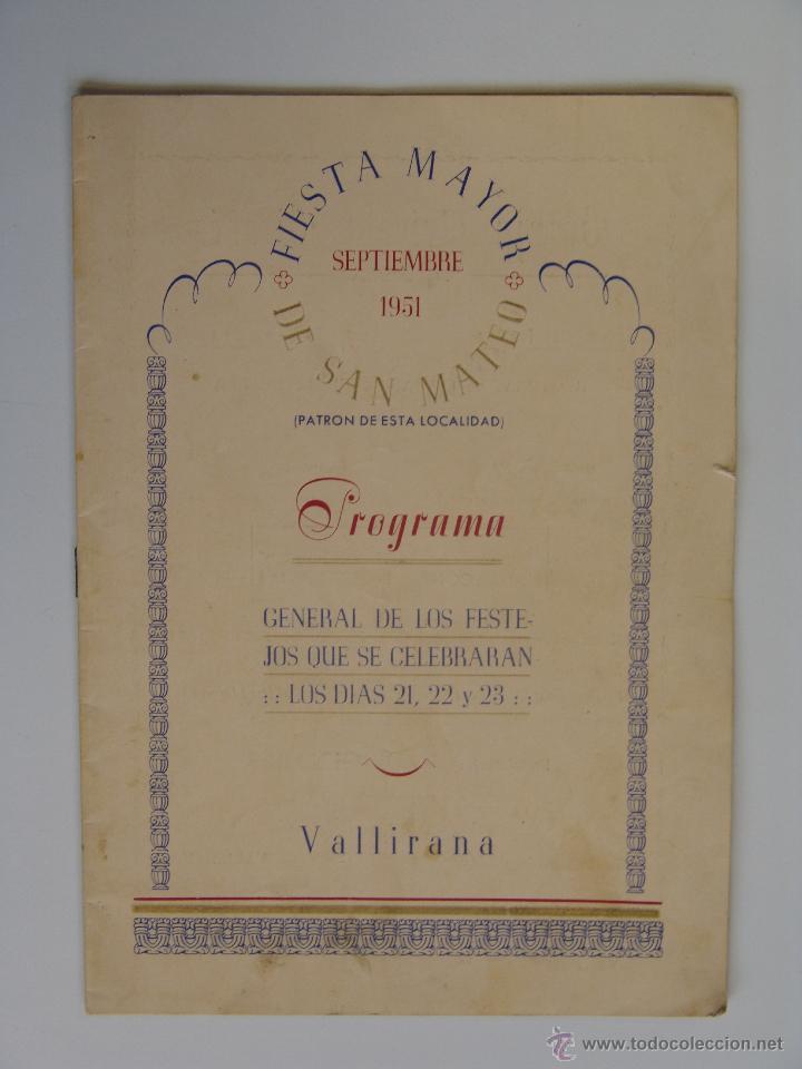 PROGRAMA DE FIESTA MAYOR DE SAN MATEO VALLIRANA 1951 (Coleccionismo - Folletos de Turismo)